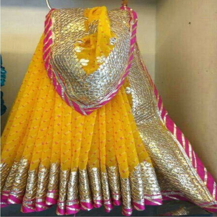 Yellow Saree With Gota Patti Work,Gota Patti Saree Wholesale Surat,Gota Patti Saree Design