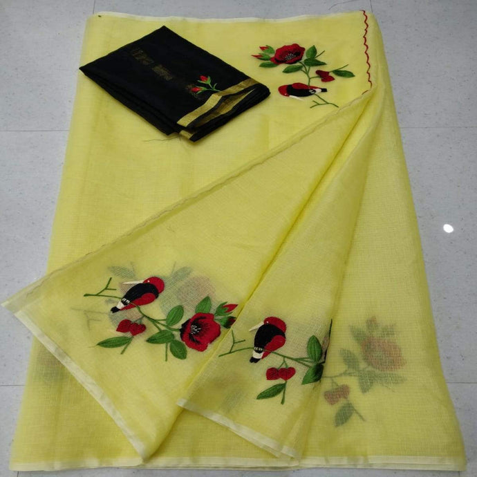 Yellow and black kota embroidred saree, Kota doria sarees, pure kota embroidery sarees