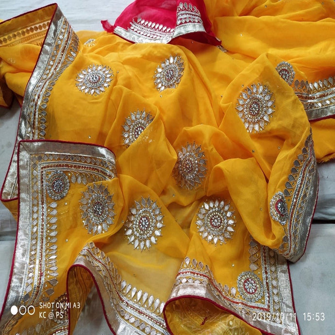 Yellow and red saree with gota patti work