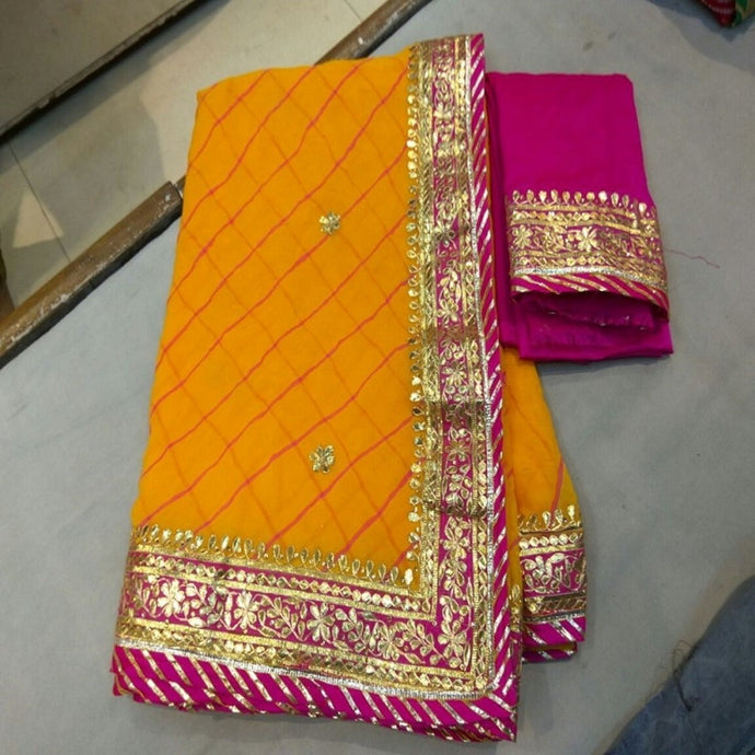 Yellow Leheriya Heavy Gota Patti Saree,Gota Patti Saree Wholesale Surat,Gota Patti Saree Design