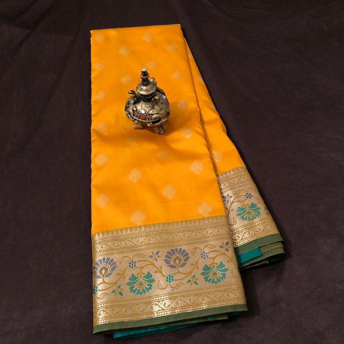 Yellow Upada Silk Saree,Upada Silk Banarasee Saree,Banarasi Upada Online