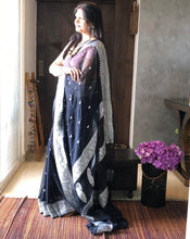 Load image into Gallery viewer, Black Khaddi Banarasi Chiffon Saree