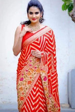 Load image into Gallery viewer, Red Banarasi Meenakari saree