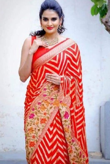 Red Banarasi Meenakari saree