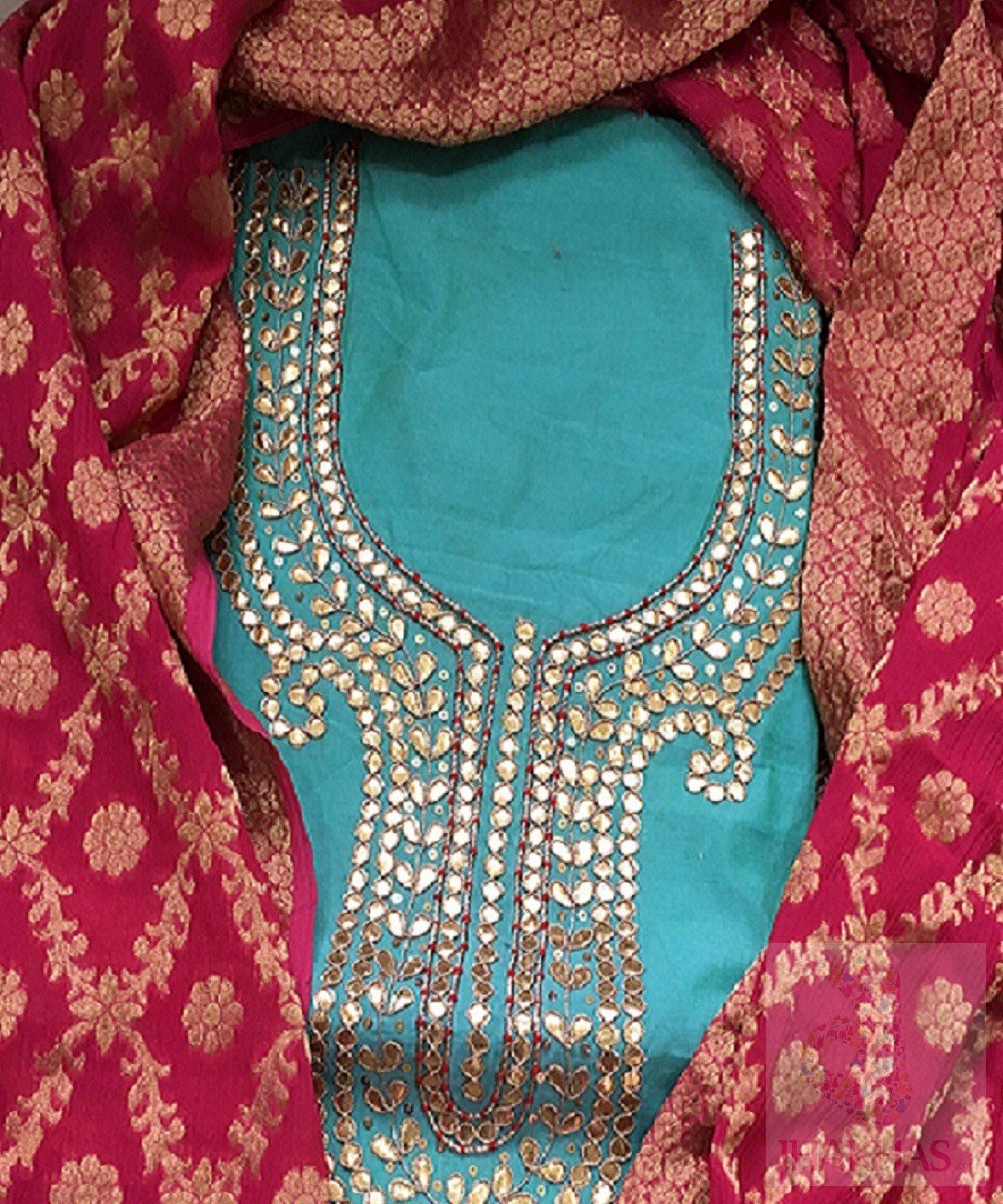 Blue Gota Patti Kurta With Pink Banarsee Dupatta