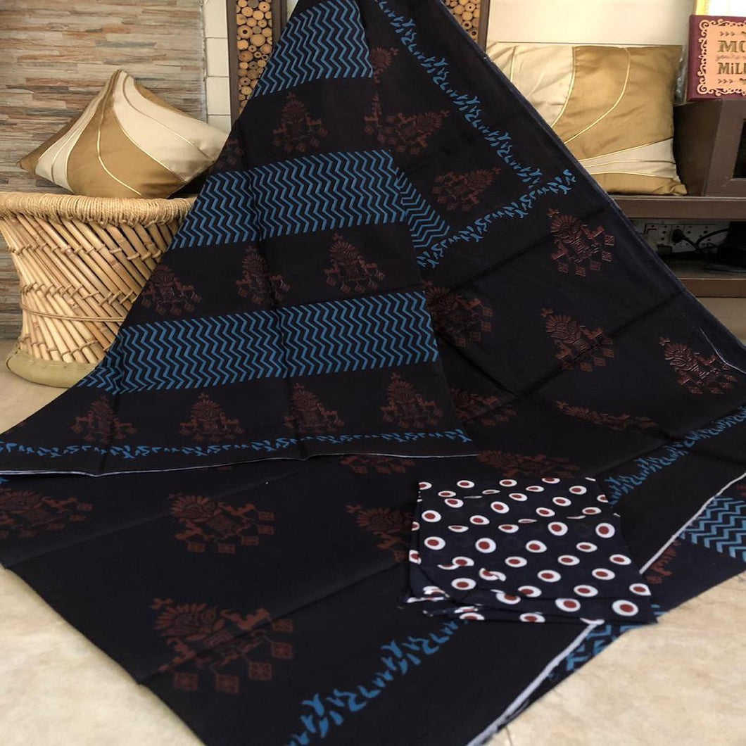 Brown And Blue Bagru Saeee, Bagru Cotton Handblock Saree