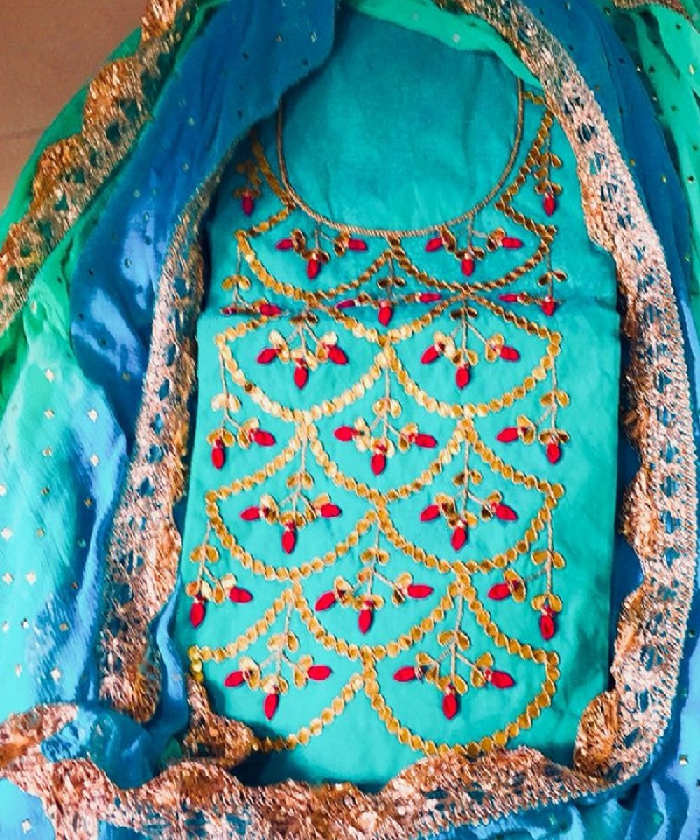 Fabulous Blue Gota Patti Gota Work
