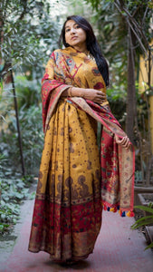 Pure Linen Saree Online In Red Yellow & Cream,Pure Line  Saree