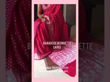 Load and play video in Gallery viewer, Red Banarasi Semi Georgette Full Jaal Saree