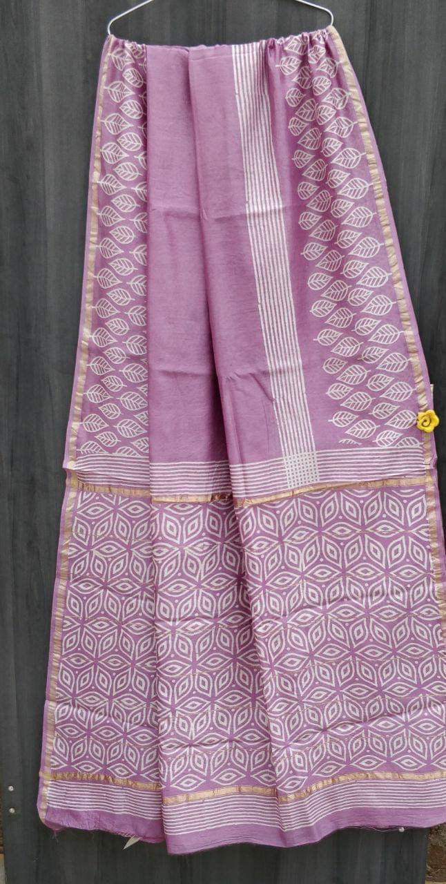 Purple Block Print Bagru Chanderi Saree