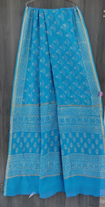 Bagru Chanderi Saree in Skyblue
