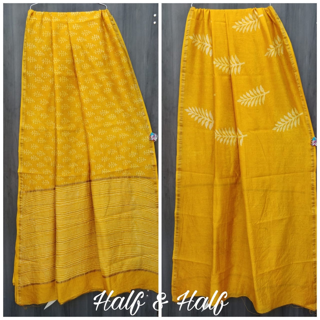 Yellow And White Bagru Chanderi Saree