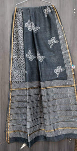 Grey Bagru Chanderi Saree