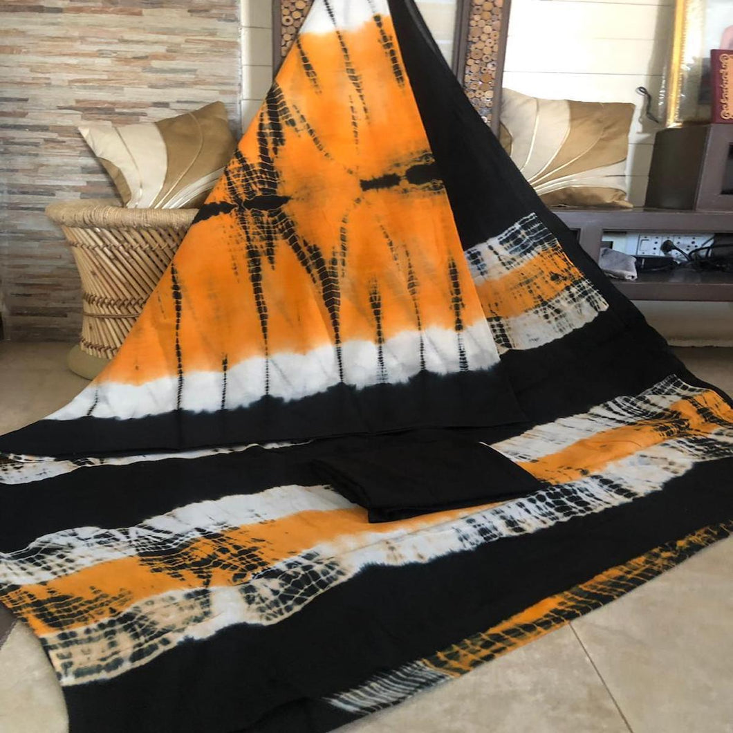 Orange And Black Bagru Print Saree, Bagru Cotton Sarees