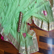 Load image into Gallery viewer, Green Saree With Gota Patti Work