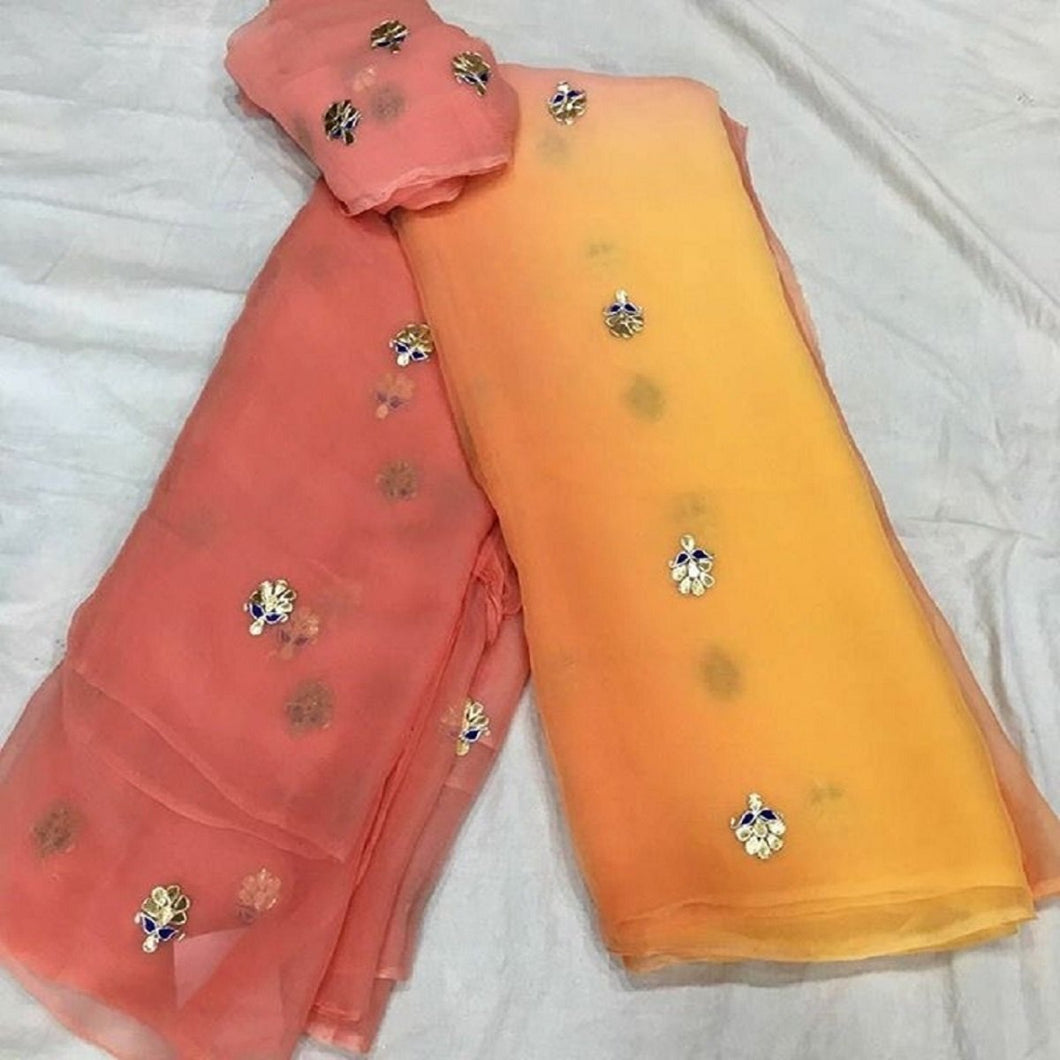 Gota Patti Chiffon Saree,Peach Orange Pure Chiffon Gota Patti Saree