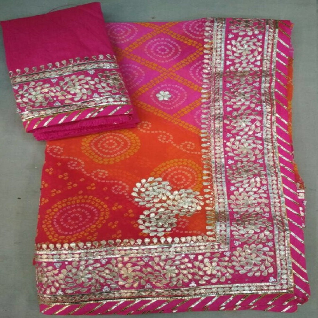 Pink Bandhini Heavy Gota Work Designer Saree, Gota Patti Work Saree Online,