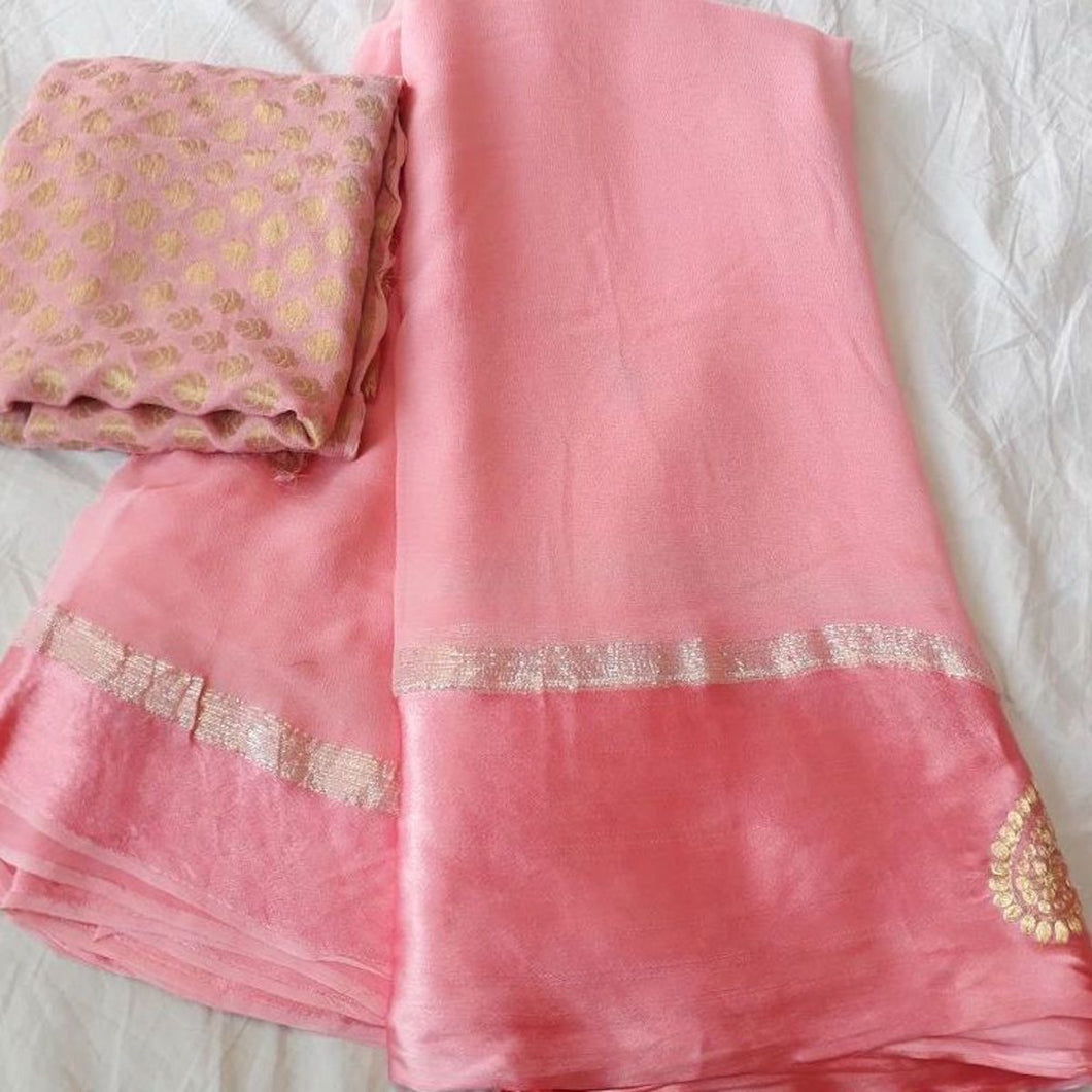 Pink Georgette Thread Work Saree