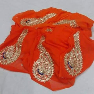 Kundan Work Pure Chiffon Saree In Orange, Chiffon Saree, Rajputi chiffon saree