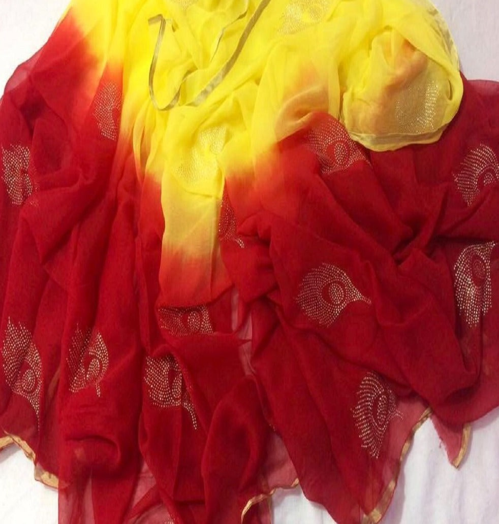 Pure Chiffon Red Panwari Work  Saree