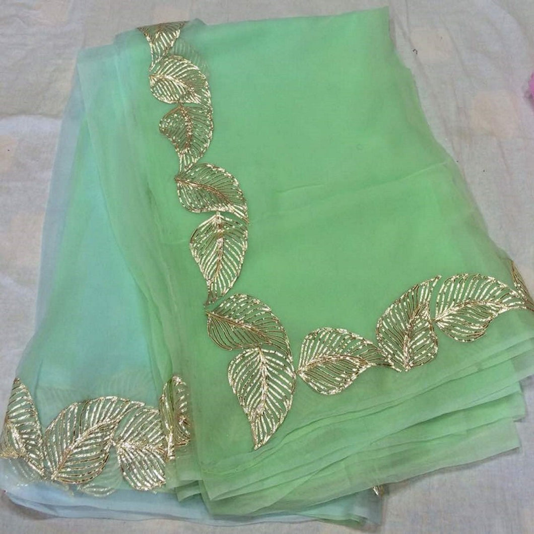 Rajputi Chiffon Saree, Blue & Green Gota Patti Pure Chiffon Saree
