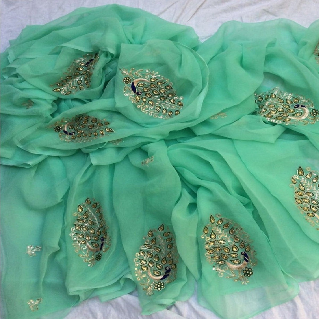 Kundan Work Pure Chiffon Saree In Sea Green, Chiffon Saree, Rajputi chiffon saree