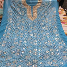 Load image into Gallery viewer, Stunning Georgette Blue Chikankari Gota Patti Salwar Suits ,Lucknowi Salwar Suits Online, Suits With Chikan Kari Work