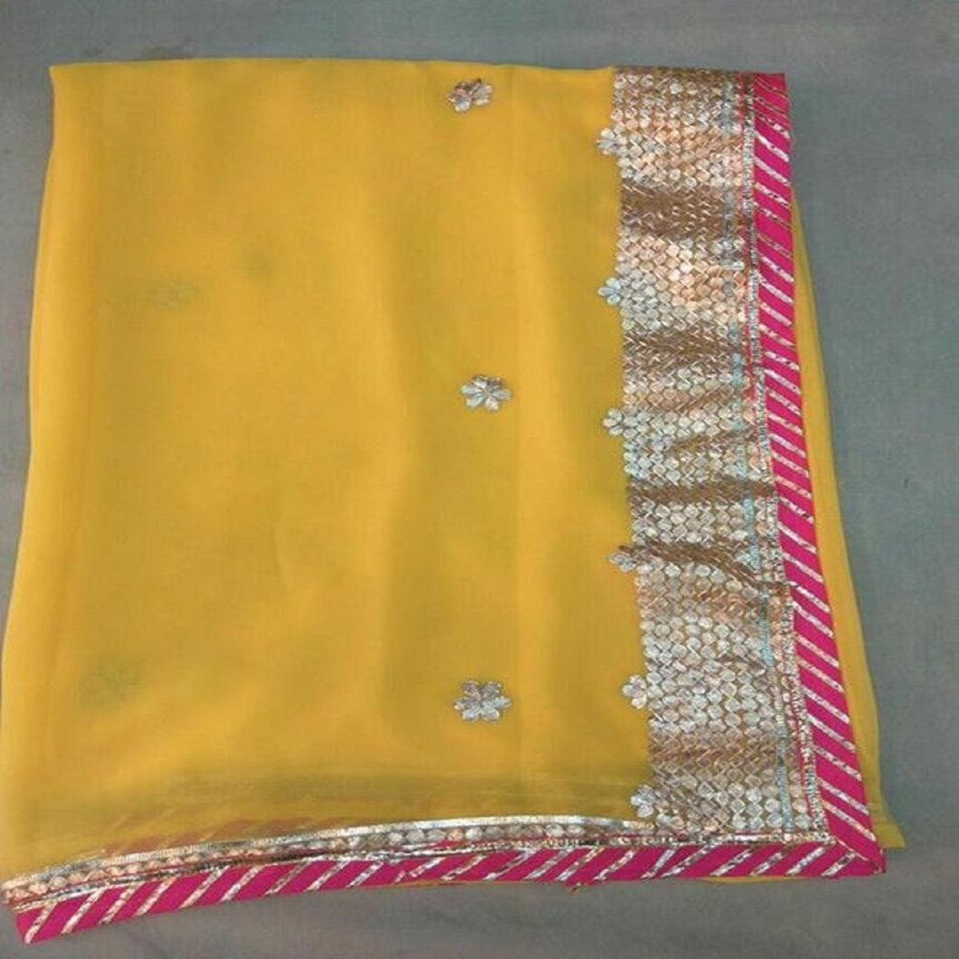 yellow gota patti border saree,Gota Patti Saree Jaipur, Gota patti saree wholesale