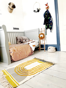 Tufted Yellow And Grey Rug