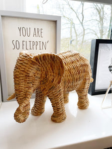 Woven Wicker Ornamental Elephant