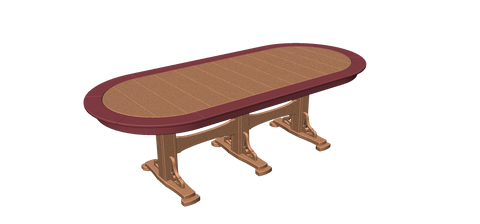 "44""x100"" Oval Pedestal Table with Border"