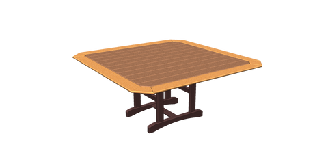 "72"" Square Trestle Table with Border"