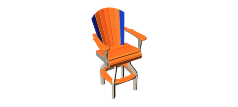 Wide Fan Back Swivel Pub Chair