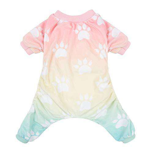 CuteBone Soft Dog Pajamas Gradient Footprint Doggy Shirts for Small Puppies P09S