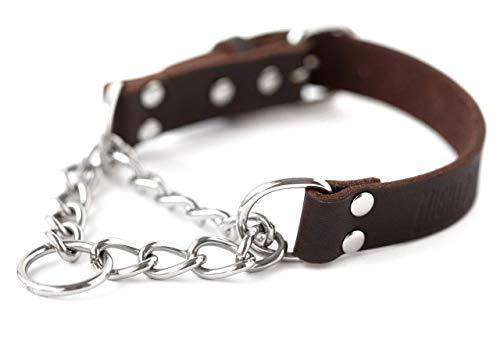 Mighty Paw Leather Training Collar, Martingale Collar, Stainless Steel Chain - Premium Quality Limited Chain Cinch Collar. (Small, Brown)