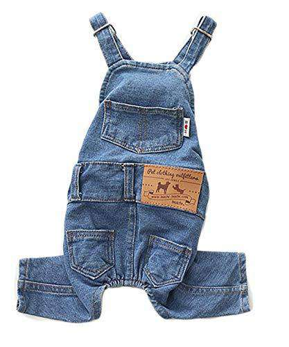 PetBoBo Dog Clothes Costumes, Pet Jeans Overalls Clothes Pet Fashion Pants 5 Sizes Optional S