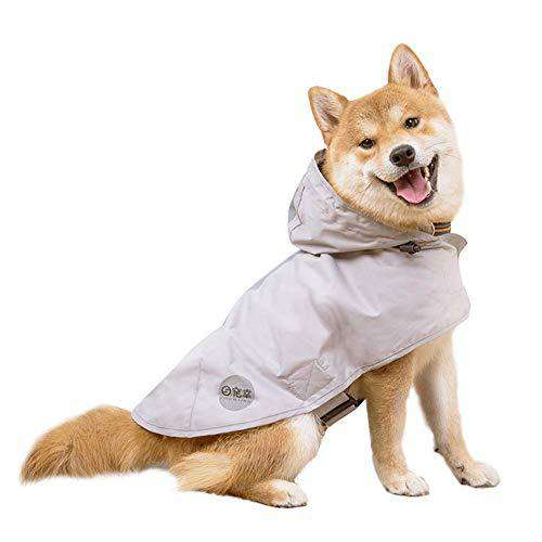 Nourse CHOWSING Dog Raincoat Lightweight Dog Hoodie Waterproof Raincoat with Visibility Reflective Safety Strip & Leash Hole Raincoat for Dogs, for Medium Large Dogs Gray (XL)