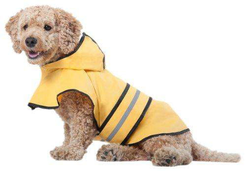 Fashion Pet Dog Raincoat For Medium Dog | Dog Rain Jacket With Hood | Dog Rain Poncho | 100% Polyester | Water Proof | Yellow w/ Grey Reflective Stripe | Perfect Rain Gear For Your Pet by Ethical Pet