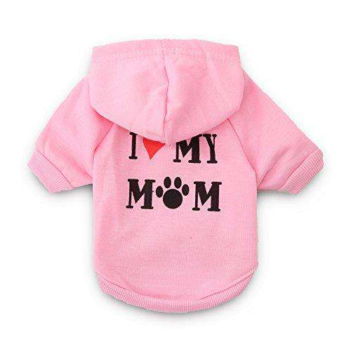 DroolingDog Dog Shirts I Love My Mom Hoodie Small Dogs Clothes Girl, XS, Pink