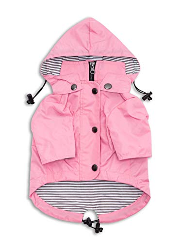 Ellie Dog Wear Zip Up Dog Raincoat Pink with Reflective Buttons, Pockets, Water Resistant, Adjustable Drawstring, Removable Hoodie - Size XS to XXL Available - Stylish Premium Dog Raincoats (XL)