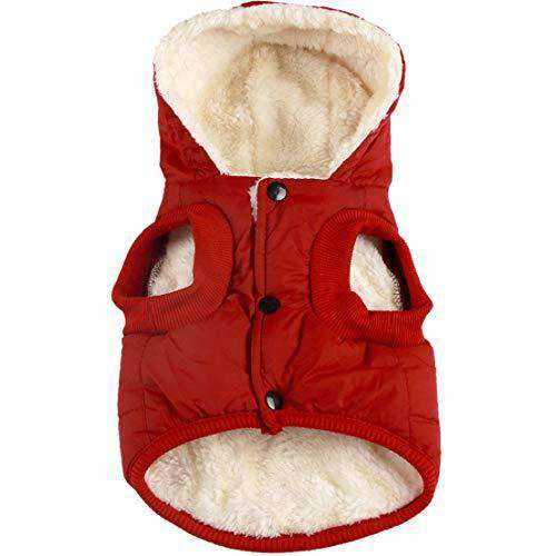 vecomfy Fleece and Cotton Lining Extra Warm Dog Hoodie in Winter for Small Dogs Jacket Puppy Coats with Hooded,Red M
