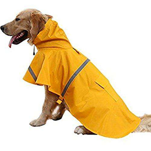 NACOCO Large Dog Raincoat Adjustable Pet Water Proof Clothes Lightweight Rain Jacket Poncho Hoodies with Strip Reflective (XL, Yellow)…