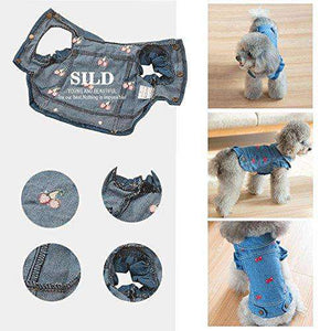 SILD Pet Clothes Dog Jeans Jacket Cool Blue Denim Coat Small Medium Dogs Lapel Vests Classic Puppy Hoodies (L, Cherry)