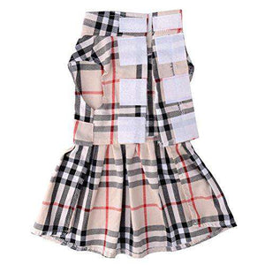 CHOLOGIFT Classic Plaid Dog Dress Cute Puppy Clothes Outfit Small