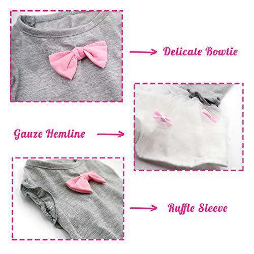 kyeese Dog Dresses Pink Bowtie Cat Dress for Small Dogs Sundress with Ruffle Sleeves