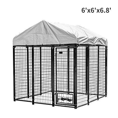 PUPZO Welded Wire Dog Kennel,Outdoor Heavy Duty Pet Cage with UV Protection and Waterproof Trap Cover Automatic Lock Rotatable Window 2 Stainless Steel Bowls (6'x6'x6.8')