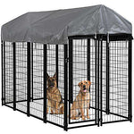 Dog Pen Dog Playpen House Heavy Duty Outdoor Metal Galvanized Welded Pet Crate Kennel Cage with UV Protection Waterproof Cover and Roof (7.5 x 3.75 x 5.8 Feet)
