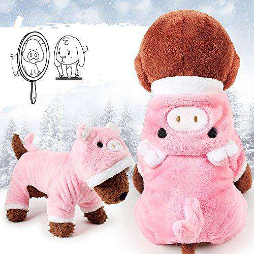 Meihejia Cute Small Dog Sweater Girl Pink Pig Puppy Clothes Hoodie Winter Warm Coat - M