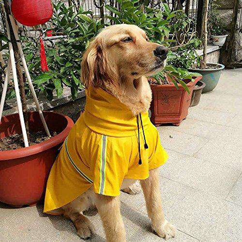 Dog Raincoat Leisure Waterproof Lightweight Dog Coat Jacket Reflective Rain Jacket with Hood for Small Medium Large Dogs(Yellow,M)