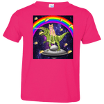 TACO KITTY RAINBOW RIDING T-REX LASER EYED Toddler Jersey T-Shirt